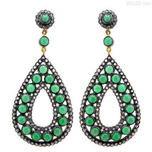 Emerald Gemstone 925 Sterling Silver Diamond Pave 14 K Gold Dangle Drop ... - $1,509.07