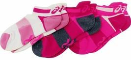 Asics Quick Lyte Cushion Single Tab 3 Pairs Socks S Small Womens Size 6-7.5 Pink