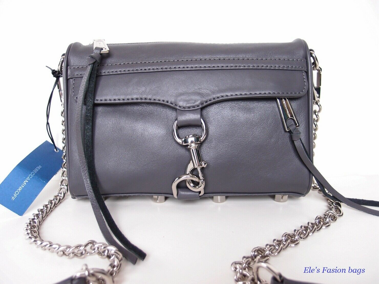 Primary image for NWT Rebecca Minkoff Mini MAC Leather Crossbody Bag CHARCOAL GREY $195+ AUTHENTIC