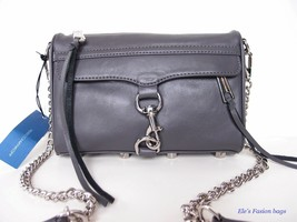 NWT Rebecca Minkoff Mini MAC Leather Crossbody Bag CHARCOAL GREY $195+ A... - $136.00