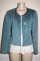 DOUBLE D RANCH WEAR Sz XS Green Stud Embellished Western Suede Leather J... - $78.57