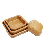 Square Wooden Salad Bowl Large Rice Bowl Healthy Natural Soup Bowl Kitch... - $27.95 - $39.95