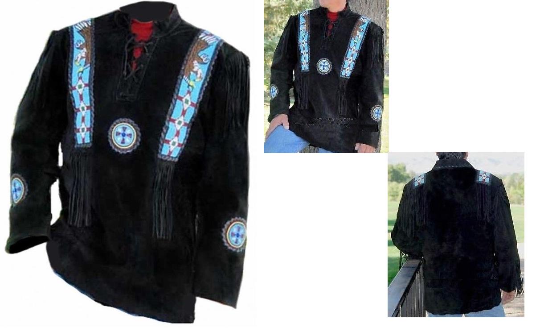 Men's New Native American Eagle Beads Fringes Black Suede Leather Shirt FJ124B image 6