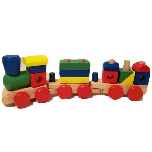 Melissa and Doug- Classic Wooden Colorful Stacking Train  - $9.89