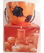 AVON SPICE PUMPKIN BOWL WOOD METAL LEAF ORANGE 2004 - $8.99