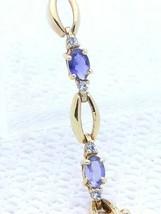VTG .925 Sterling Silver Gold Vermeil Amethyst Clear Rhinestone Tennis Bracelet - $39.60