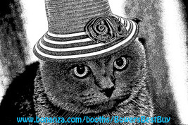 kitty cat wearing hat Printable art animal prints Digital Download Black... - $3.99