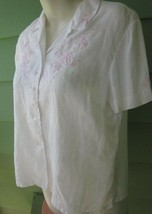 MADEIRA LINEN BLOUSE with PINK LEAF FLORAL EMBROIDERY TOP SHIRT Size 38 ... - $9.49
