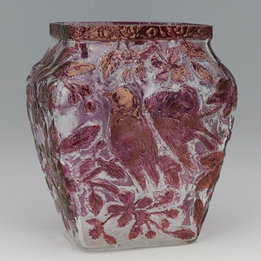 Vinatge Consolidated Art Glass Cranberry Stain Chicadee Birds Vase