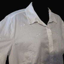 1X White Dragonfly Embroidered Talbots Woman Petites Stretch Short Sleeve Blouse - $39.59