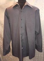 Van Heusen Mens Broadcloth 16 32 / 33 Gray Button Down Dress Shirt Grey - $24.98