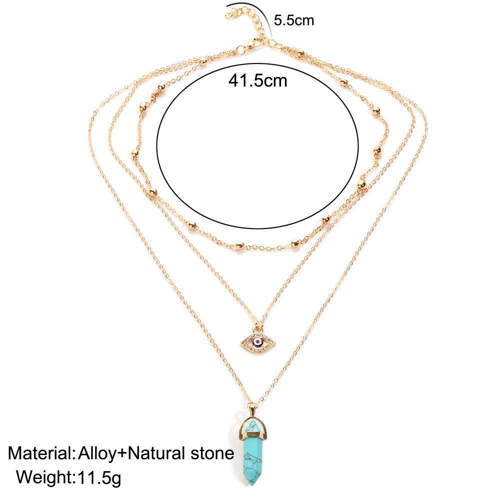 17KM® Bohemian Opal Choker Necklaces For Women Multi Layer Eye Big Stone Pendant