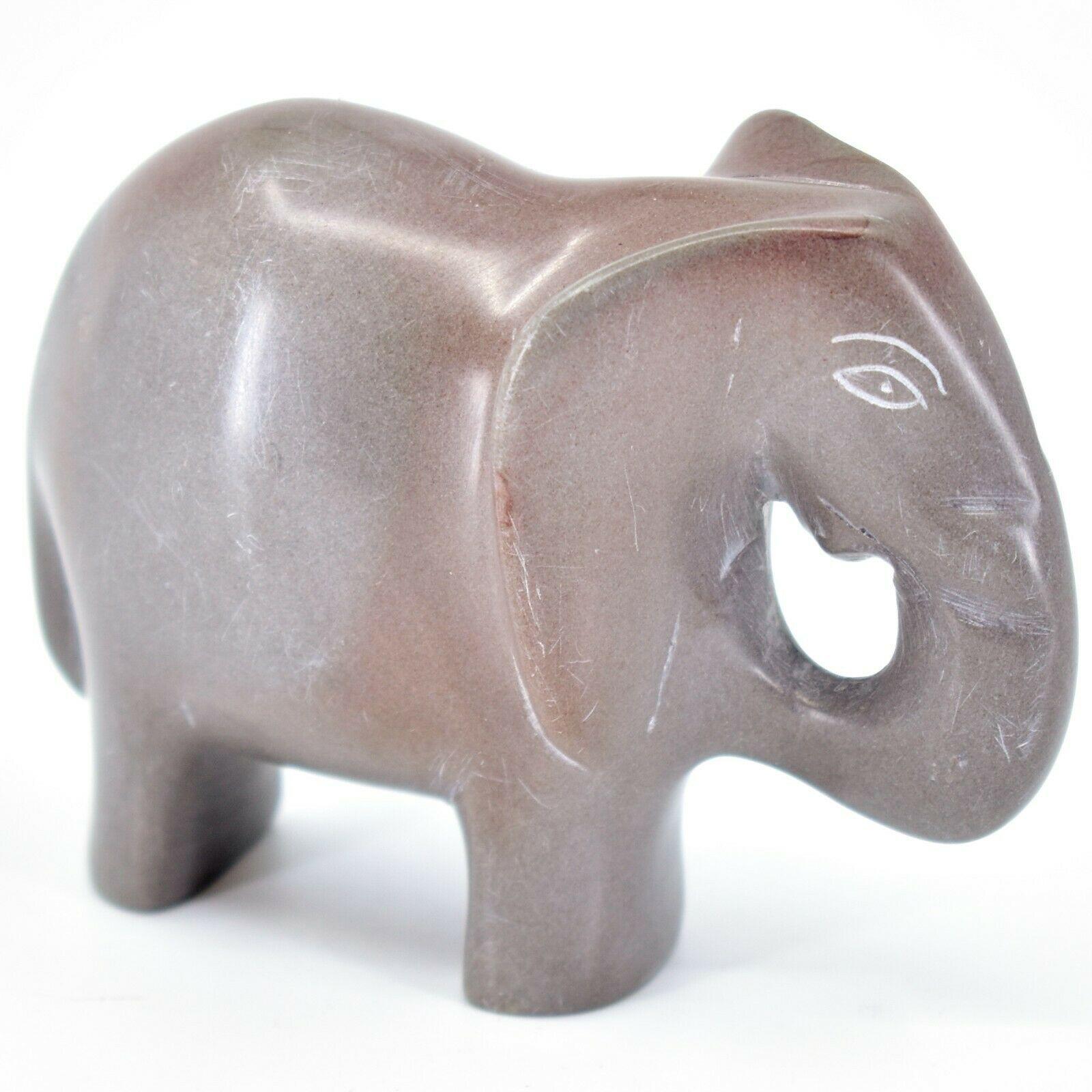 Crafts Caravan Hand Carved Natural Dove Gray Soapstone Elephant Figurine Kenya