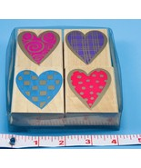 SET OF 4 Hero Arts Hearts with Patterns Wood Mounted Rubber Stamps NEW 2... - $14.85