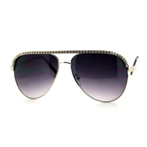 RHINESTONE TOP Celebrity Women's AVIATOR Sunglasses SILVER - $10.84