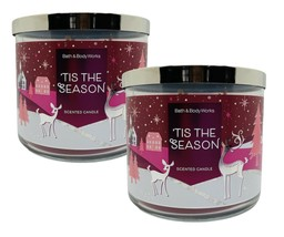 2 Bath & Body Works 'TIS THE SEASON 2020 Large Scented 3 Wick Candles 14... - $37.01