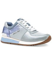 Michael Kors MK Women's Allie Trainer Leather (8.5, Pale Blue)