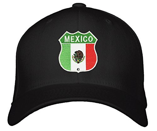 Mexico Flag Shield Hat Snapback Style (Black)