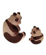 HandWoody Wooden Animal Panda Big & Small Handmade Handpainted Wood Figu... - $35.81