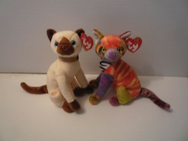 """TY Beanie Babies 7"""" Cat Siam  2001 & Cat Kaleidoscope 2000 Mint with Tags  - $7.91"""