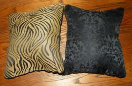 Pair of Black Gold Zebra Decorative Print Throw Pillows  12 x 12 - $29.95