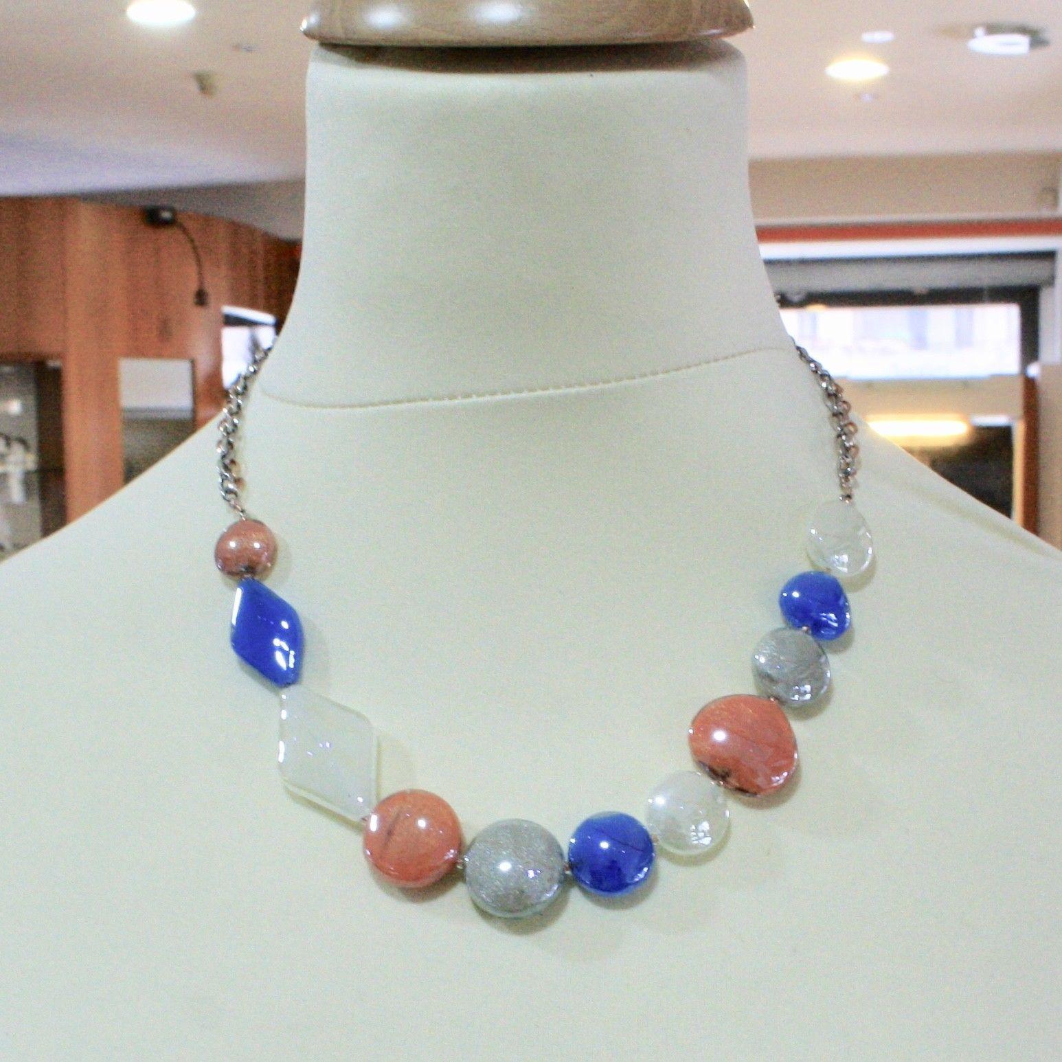 ANTICA MURRINA VENEZIA NECKLACE WITH MURANO GLASS GRAY ORANGE BLUE COA86A46