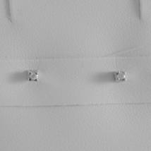 18K WHITE GOLD MINI SQUARE EARRINGS DIAMOND DIAMONDS 0.03 CT, MADE IN ITALY  image 1