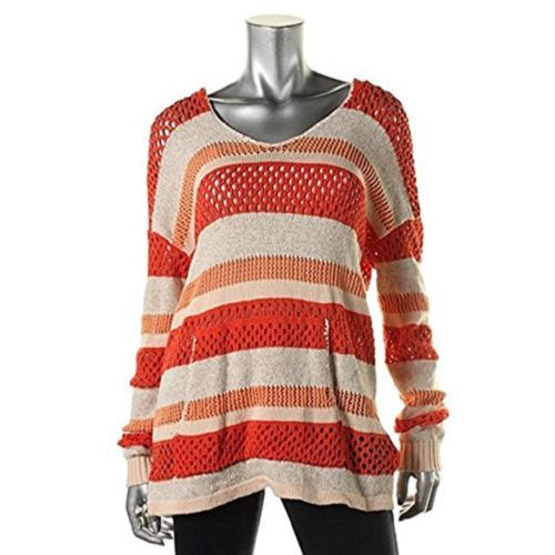 Sanctuary Women's Striped Crochet Hooded Sweater NEW Coral