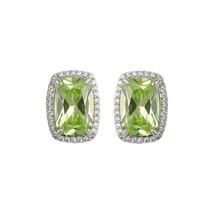 Pave Clear + Apple Green Radiant Emerald Cut CZ Halo Rhodium Stud Earrings-15mm - $39.59