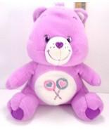 "Purple Care Bear Share Bear Plush Stuffed Animal Heart Lollipops 11"" White Nanco - $13.85"