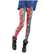 Ladies 80's Bright Neon Metallic Fluro Leopard Print Leggings Punk ac15 - $14.99