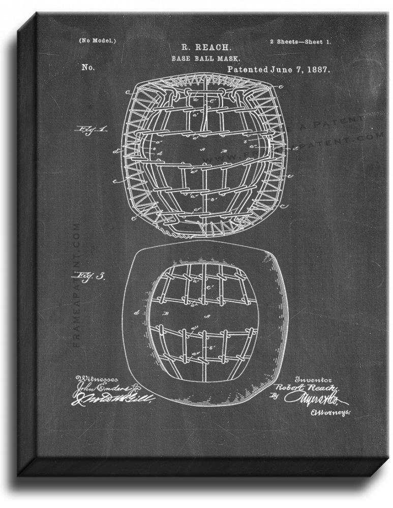 Primary image for Baseball Mask Patent Print Chalkboard on Canvas