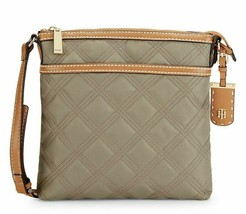 Tommy Hilfiger NWT $78 Ash Gray Crossbody Shoulder Bag Julia Quilted Nyl... - $44.55