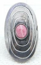 VTG .925 Sterling Silver Mexican Modernist Brooch Pink Rhodochrosite Signed - $123.75