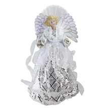 "Northlight 16"" B/O Fiber Optic Angel in White Silver Gown Christmas Tree... - $59.39"