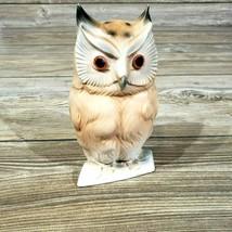 Ucagco Ceramics of Japan Owl 6.5 Inch Figure Statue w/ Gem Eyes Sticker ... - $34.65