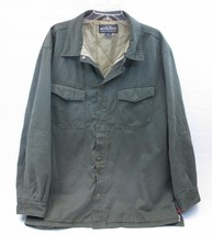 WOOLRICH LINED LIGHTWEIGHT SHIRT JACKET KHAKI OLIVE MEN'S LARGE L 52 CHEST  - $34.65