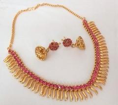 Indian Bollywood Fashion Gold Plated Fuchsia Rhinestone Bridal Jewelry Necklace - $11.87
