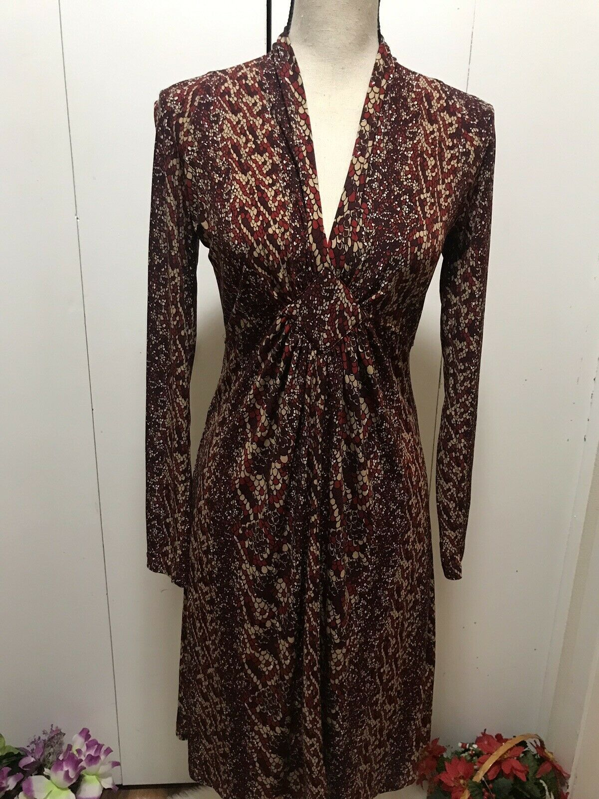 New BCBG Maxazaria Longsleeve Brown Dress Size S