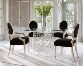 AGNES - 5pcs Modern Round Glass Top Metal Dining Room Table Chairs Set Furniture