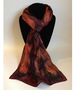 Hand Painted Silk Scarf Brown Copper Black Women's Rectangle Head Neck Wrap Gift - $56.00
