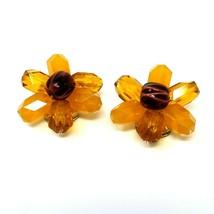 Vintage Costume Earrings Orange Lucite Flower Gold tone Clip-on W German... - $9.89