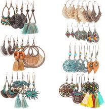 21 Pairs Fashion Boho Drop Dangle Earrings, Colorful Tassel Vintage - $33.00