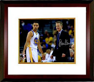 Steve Kerr signed Golden State Warriors 16x20 Photo Custom Framed (Coach standin