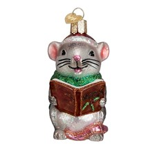 Caroling Mouse Ornament Old World Christmas Gray Glitter Accents New - $13.85