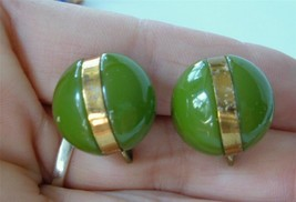 Vintage Green Bakelite Earrings Button Style Gold Metal Band Screwbacks - $19.79