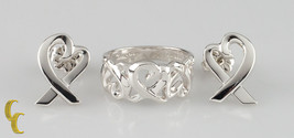 Tiffany & Co.Paloma Picasso 925 Silber Libendes Herzen Ehering & Ohrstecker - $356.40
