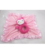 Carters Owl Plush Ring Lovey Security Blanket Pink Stuffed Animal toy - $8.95