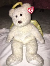 "2000 Ty Beanie Buddy Halo II Large 14"" Shimmer Angel Bear Gold Wings/Halo NWT - $11.87"