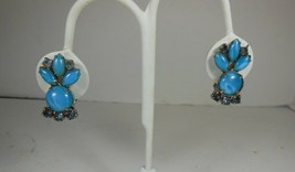 Vintage Opaque Blue Glass Clip On Earrings - $10.88